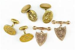 A Pair Of Edwardian 9 Karat Yellow Gold Shield Form