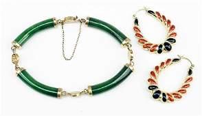 A Jade and 14 Karat Yellow Gold Bracelet