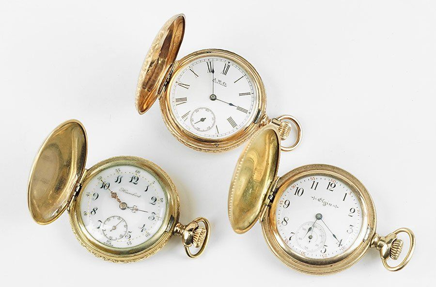 Three Lady's Gold Filled Pocket Watches.