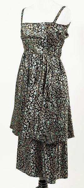 A Pauline Trigere Brocade Tiered Dress.