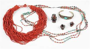 A Turquoise, Coral, And Shell Four String Bead