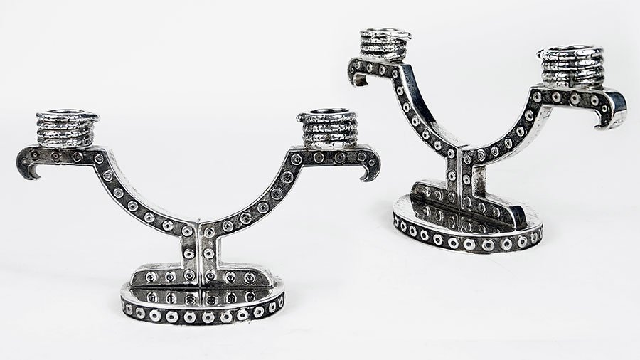 A Pair of Tane Mexican Sterling Silver Candelabra.