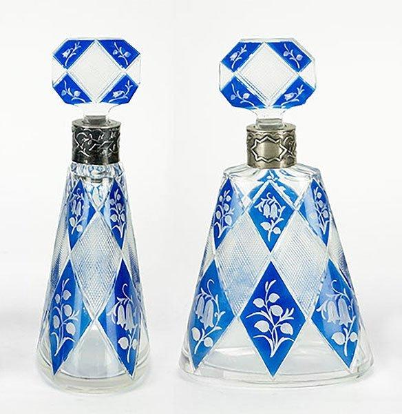 A Pair of German Crystal Decanters.