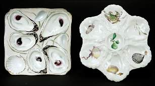 Two Continental Porcelain Oyster Plates.