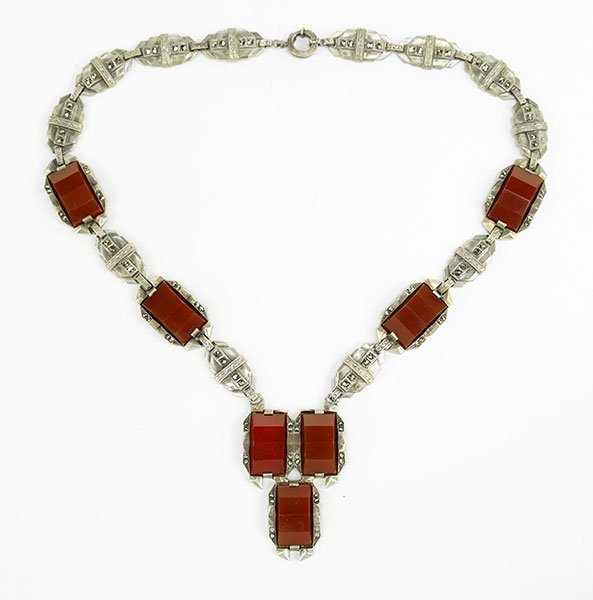 A Carnelian, Marcasite, And Sterling Silver Necklace.