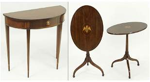 A Pair of American Inlaid Mahogany Tilt Top Tables.