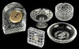 Two Waterford Crystal Desk Clocks.