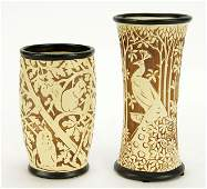 Two Weller Knifewood Pottery Vases.