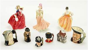 A Collection Of Eight Royal Doulton Painted Porcelain