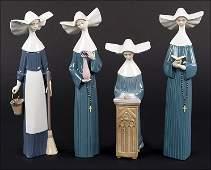 Four Lladro Porcelain Nun Figures.