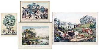 A Collection of 19th Century Framed Currier  Ives