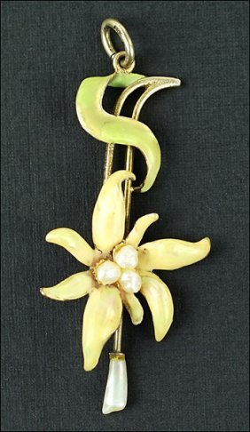 A Meyle Mayer Pearl, Enamel, And Sterling Silver Flower