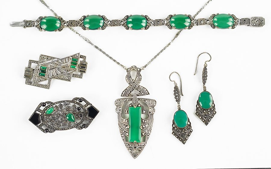 A Collection Of Green Onyx And Marcasite Jewelry.