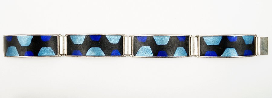 A Scholtz And Lammel Matte Enamel And Sterling Silver