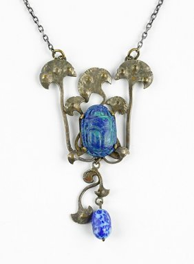 An Egyptian Revival Scarab Necklace.