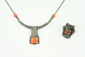 A German Art Deco Coral, Marcasite, And Sterling Silver
