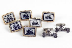 A Pair Of Sterling Silver Automobile Cufflinks.
