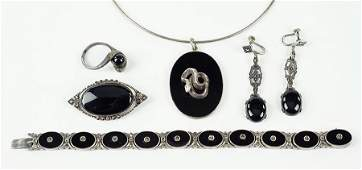 A German Onyx, Marcasite, And Sterling Silver Bracelet.