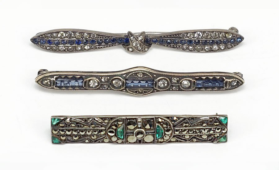 An Art Deco Marcasite, Green Paste, And Sterling