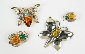 A Reja Sterling Silver And Rhinestone Insect Brooch.