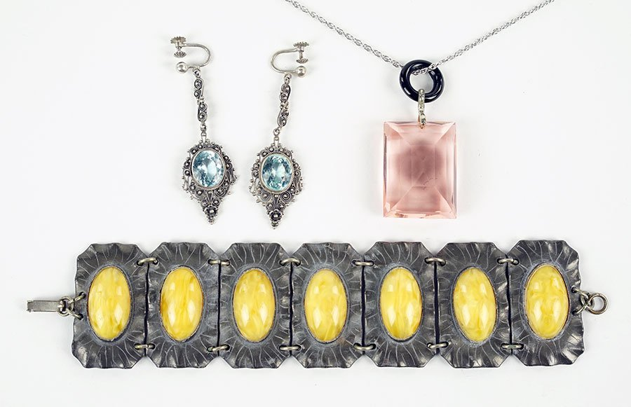 A Pair Of German Art Deco Silver And Paste Earrings.