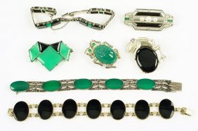 A Green Onyx, Black Onyx, Marcasite, And Silver