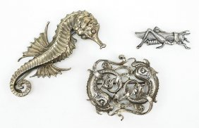 A Collection Of Three Cini Sterling Silver Brooches.