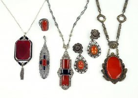 A Carnelian, Onyx, And Marcasite Pendant Necklace.