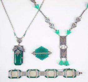 Two Art Deco Green Paste And Silvertone Pendant