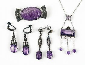 An Art Deco Amethyst And Silver Necklace.