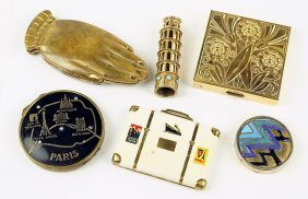 A Collection Of Goldtone Vintage Compacts.