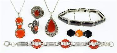 Two Carnelian Marcasite And Sterling Silver Pendant