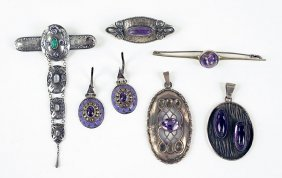 A French Art Nouveau Amethyst, Moonstone, And Silver