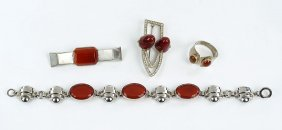 A Carnelian And Sterling Silver Bar Pin.