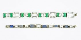 A Green Onyx, Rock Crystal, And Silver Bracelet.