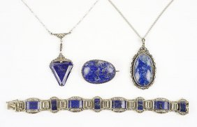 An Art Deco Lapis, Marcasite, And Sterling Silver