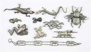 A Collection Of Silver Animal Brooches