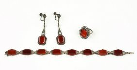 A Pair Of German Carnelian, Marcasite, And Sterling