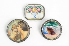 Three Painted And Silvertone Brooches.
