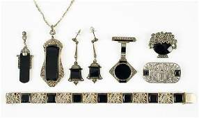 A Collection Of Onyx Marcasite And Sterling Silver