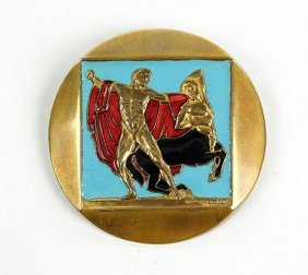 An F. Bouillot French Art Deco Enameled Brooch.