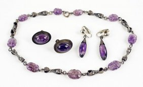 A Pair Of Jose Anton Amethyst And Mexican Silver