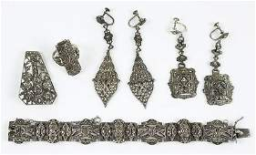 A Collection Of Marcasite And Sterling Silver Jewelry.