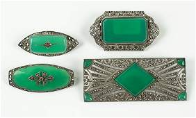 A French Green Onyx And Marcasite Brooch.