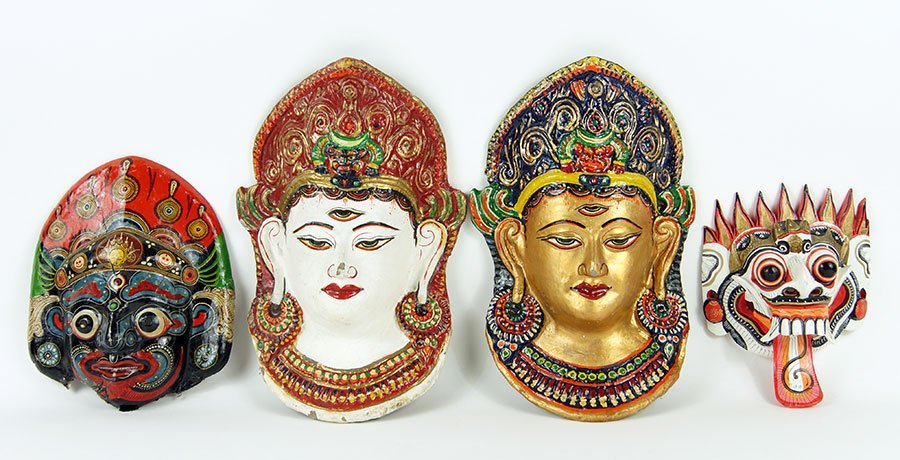 A Collection Of Three Balinese Papier Mache Masks.