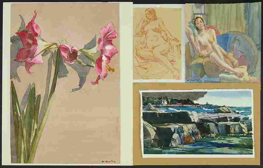D. Hurdy (20th Century) Four Works on Paper.
