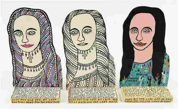 Howard Finster (American, 1916-2001) Three Mona Lisas.