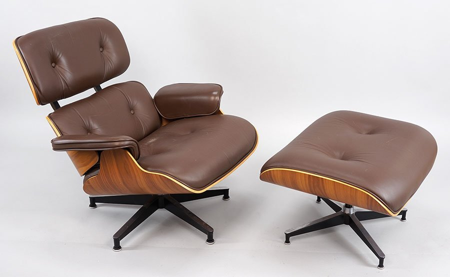 A Charles and Ray Eames 670 Lounge Chair and 671
