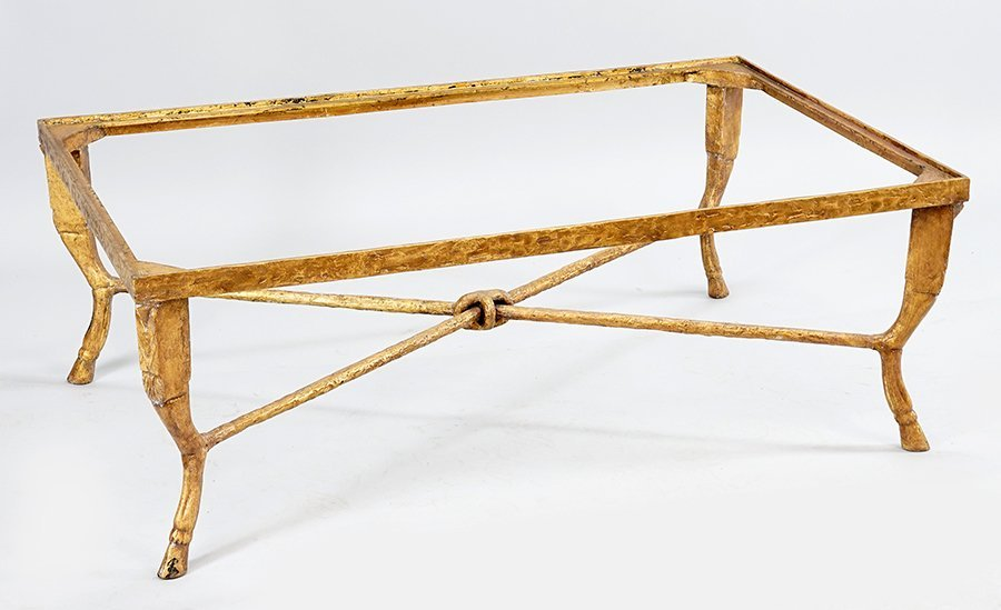 A Gold Painted Metal Cocktail Table.