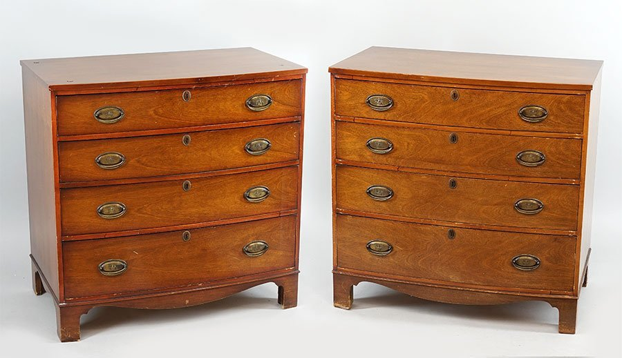 A Pair Of Mahogany National Furniture Co. Bowfront